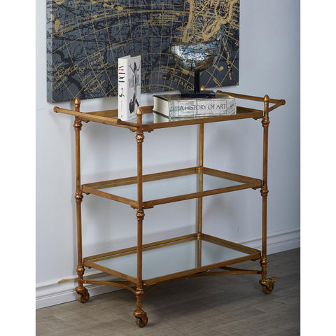 Brass Gold and Reflective Mirror 2-Tier Bar Cart