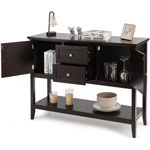 Brown Wooden Sideboard Buffet Table Console Table with Drawers and Storage Cabinets