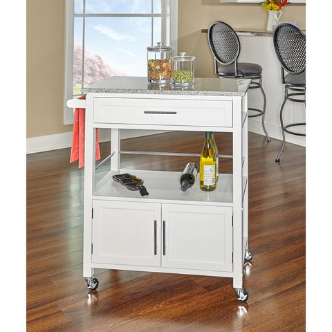 Caitlin White Kitchen Cart with Granite Top