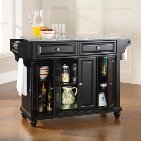 Cambridge Black Kitchen Island with Granite Top
