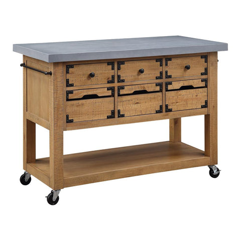 Charlotte Brown Kitchen Island with Drawers and Cement Grey Top