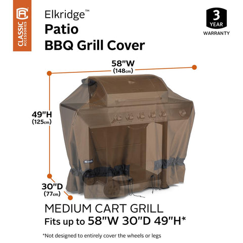 Classic Accessories Elkridge 58 in. L x 30 in. W x 49 in. H BBQ Grill Cover