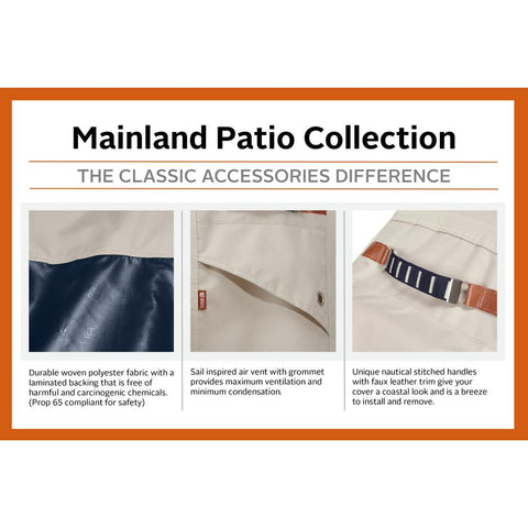 Classic Accessories Mainland 58 in. L x 24 in. W x 48 in. H Fog/Navy BBQ Grill Cover