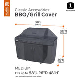 Classic Accessories 58 in. L x 26 in. W x 48 in. H BBQ Grill Cover with Coiled Grill Brush and Magnetic LED Light Included
