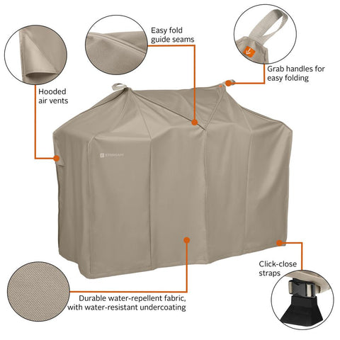 Classic Accessories Storigami 64 in. L x 30 in. W x 49 in. H Easy Fold BBQ Grill Cover Goat Tan