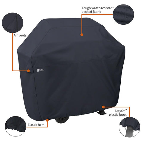 Classic Accessories 58 in. L x 26 in. W x 48 in. H BBQ Grill Cover with Grill Tool Set Grilling Spatula, Tongs and Fork Included