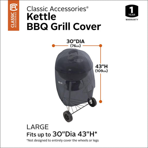 Classic Accessories 31.8 in. Dia x 49.5 in. H Kettle Grill Cover