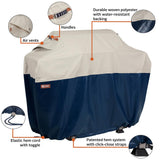 Classic Accessories Mainland 64 in. L x 24 in. W x 48 in. H Fog/Navy BBQ Grill Cover