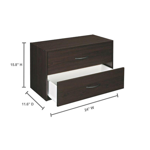 ClosetMaid 24 in. W x 16 in. H 2-Drawer Espresso Stackable Organizer