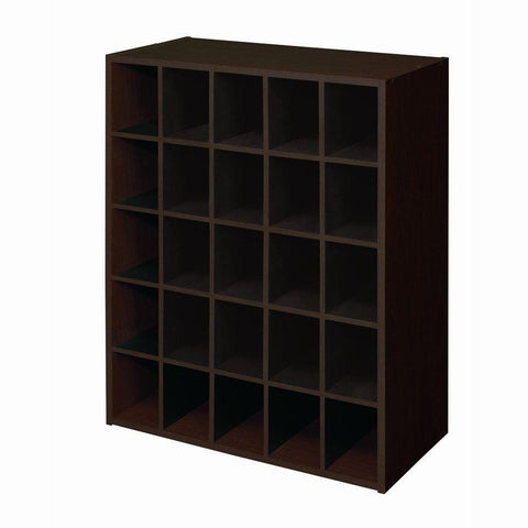 ClosetMaid 24 in. W x 32 in. H Espresso Stackable 25-Cube Organizer