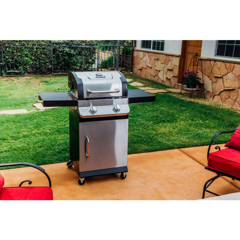Dyna-Glo Premier 2-Burner Propane Gas Grill in Stainless Steel with Built-In Thermometer