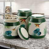 Elama Green Floral 3-Piece Canister Set
