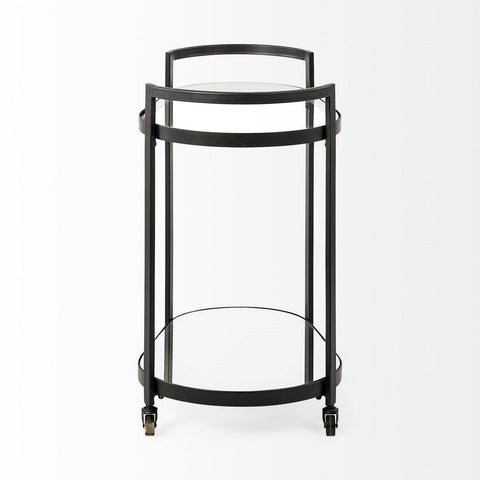 Eleonore Black Metal Frame 2-Tier with Glass Shelves Bar Cart