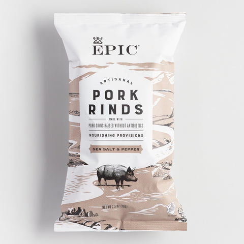 Epic Sea Salt and Pepper Pork Rinds Set of 12