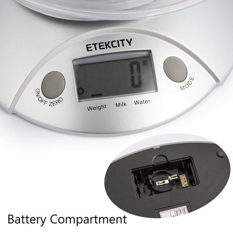 Etekcity Digital Kitchen Food Scale in Silver with Detachable Bowl