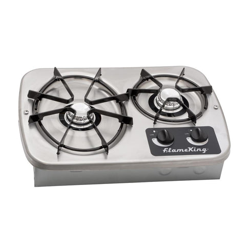 Flame King 2-Burner Drop-In RV Cooktop Stove, includes Cover