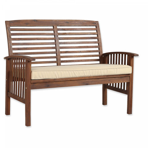 Forest Gate Eagleton Acacia Loveseat Bench with Cushion
