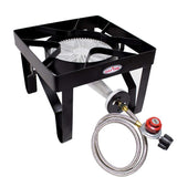 GASONE 200,000 BTU High Pressure Propane Burner Outdoor Cooker Turkey Fryer with Steel Braided Hose Square Frame