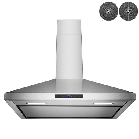 Golden Vantage 30 in. 343 CFM Convertible Kitchen Wall Mount Range Hood in Stainless Steel with Touch Panel, LEDs and Carbon Filters
