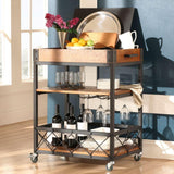 Grove Place Rustic Pine Bar Cart with Wine Glass Storage