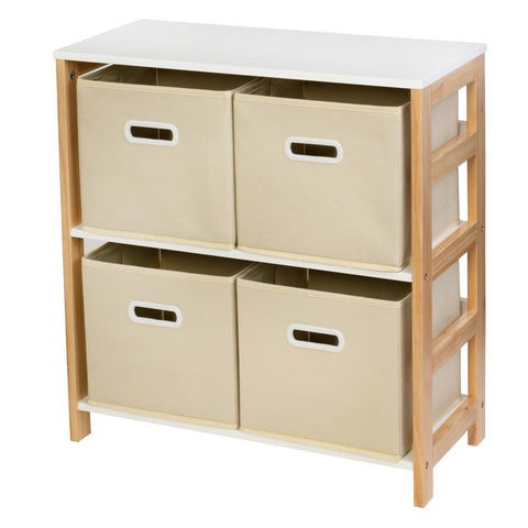 Honey-Can-Do 10.6 in. x 24.8 in. Natural 4-Bin Kids Room or Playroom Organizer