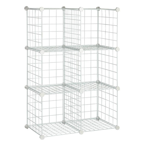 Honey-Can-Do 44.75 in. x 30.25 in. White 6-Cube Modular Mesh Storage Organizer (6-Pack)