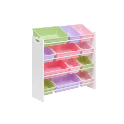 Honey-Can-Do Kids Toy Storage Organizer with Bins, White/Pastel