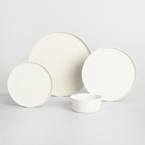 Ivory Organic Rimmed Salad Plates, Set of 6
