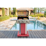 KENMORE 3 Burner Pedestal Propane gas Grill with Foldable Side Shelves in Red