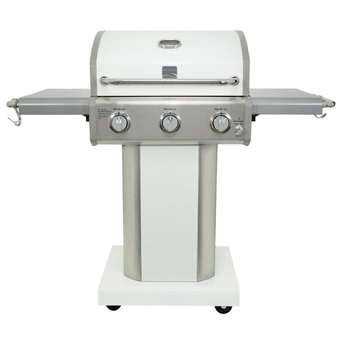 KENMORE 3-Burner Propane Gas Pedestal Grill with Foldable Side Shelves-Pearl