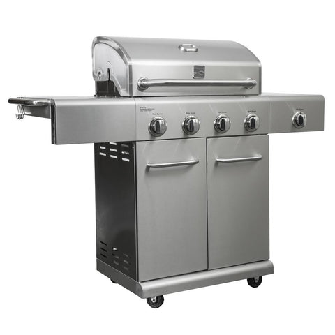 KENMORE 4 Burner Propane Gas Grill in Stainless Steel with Side Burner