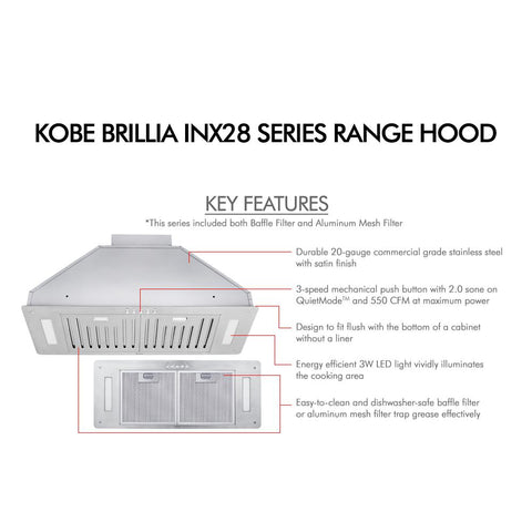 KOBE Range Hoods 30 in. 550 CFM Insert Range Hood in Stainless Steel with Baffle Filters