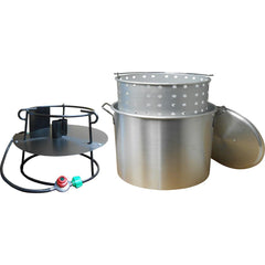 King Kooker 90 Qt. Propane Gas Jet Outdoor Cooker with Aluminum Pot, Basket and Lid