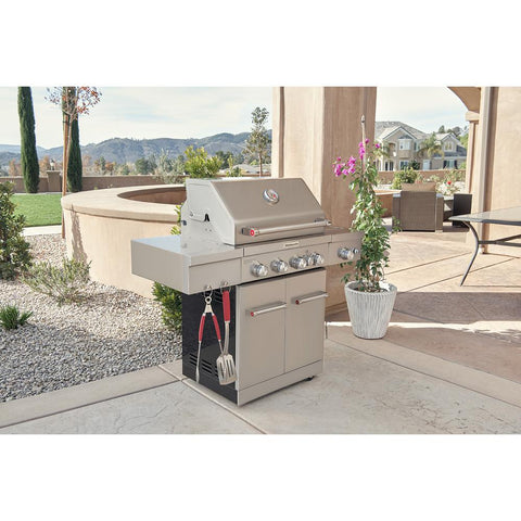KitchenAid 4-Burner Propane Gas Grill in Stainless Steel with Ceramic Searing Side Burner and Rotisserie Burner