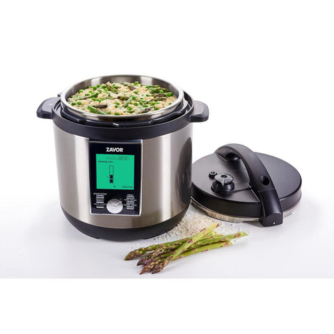 LUX LCD 8 Qt. Stainless Steel Electric Pressure Cooker with Stainless Steel Cooking Pot