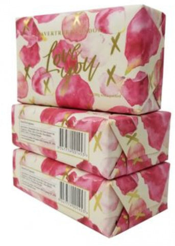 Love You - Petals - Bar Soap with Pack of 3, Each 7 oz