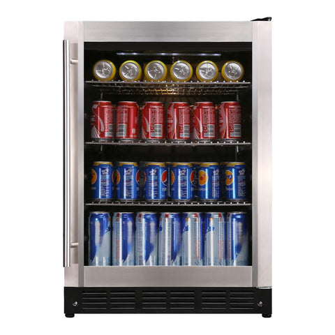 Magic Chef Beverage 23.4 in. 154 (12 oz.) Can Beverage Cooler, Stainless Steel