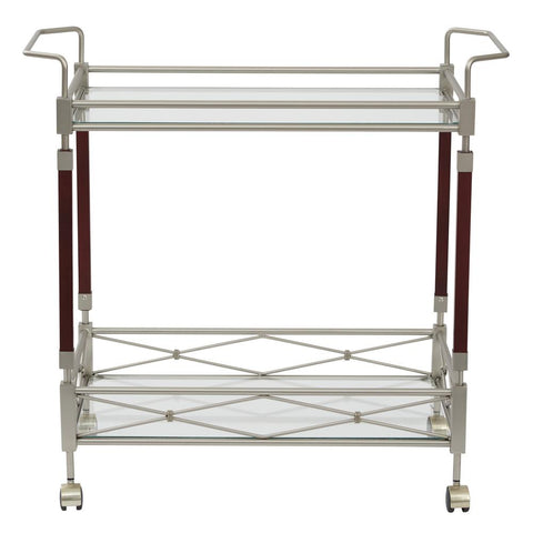 Melrose Serving Cart with Clear Tempered Glass and Nickel Brush Metal Frame