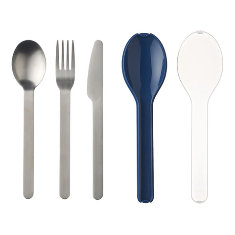 Mepal Dark Blue Ellipse Stainless Steel Cutlery 3 Piece Set