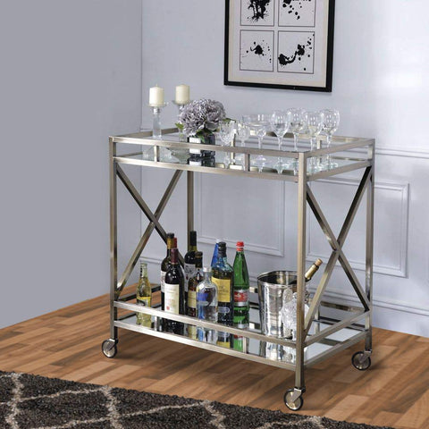 Metal Framed Silver and Clear 2-Tier Serving Cart with X Shaped Side Panels