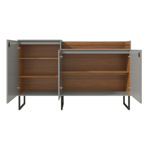 Milford 62.59 in. Grey And Wood Modern Buffet Stand with Safety Display Shelf And Steel Legs
