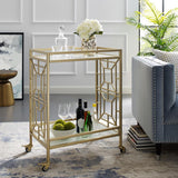 Mimi Gold/White Bar Cart with Open Wine Bottle and Stemware Storage