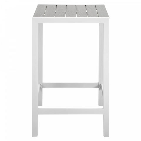 Modway Maine Outdoor Patio Bar Table in White/Light Grey