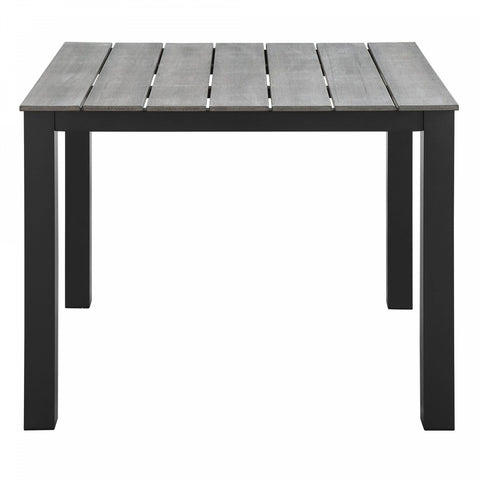 Modway Maine Outdoor 40-Inch Patio Dining Table in Brown/Grey