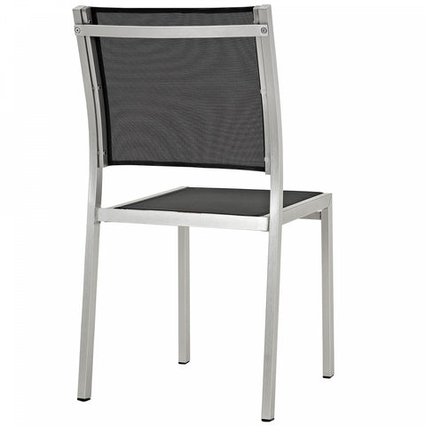 Modway Shore Outdoor Patio Textilene Mesh Side Chair in Silver/Black