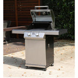 Monument 2-Burner Propane Gas Grill in Stainless with Clear View Lid and LED Controls