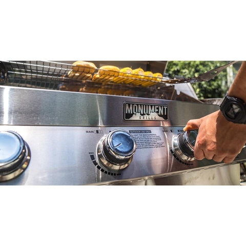 Monument Grills 4-Burner Propane Gas Grill in Stainless with LED Controls, Side and Side Sear Burners