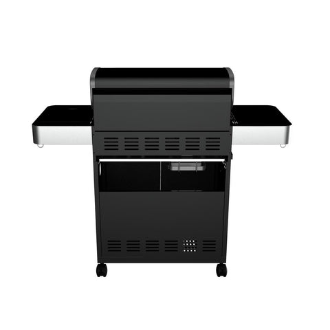 Monument Grills 4-Burner Propane Gas Grill in Black with LED Controls, Side Burner and USB Light