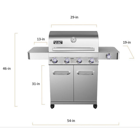 Monument Grills 4-Burner Propane Gas Grill in Stainless with LED Controls, Side Burner and Rotisserie Kit
