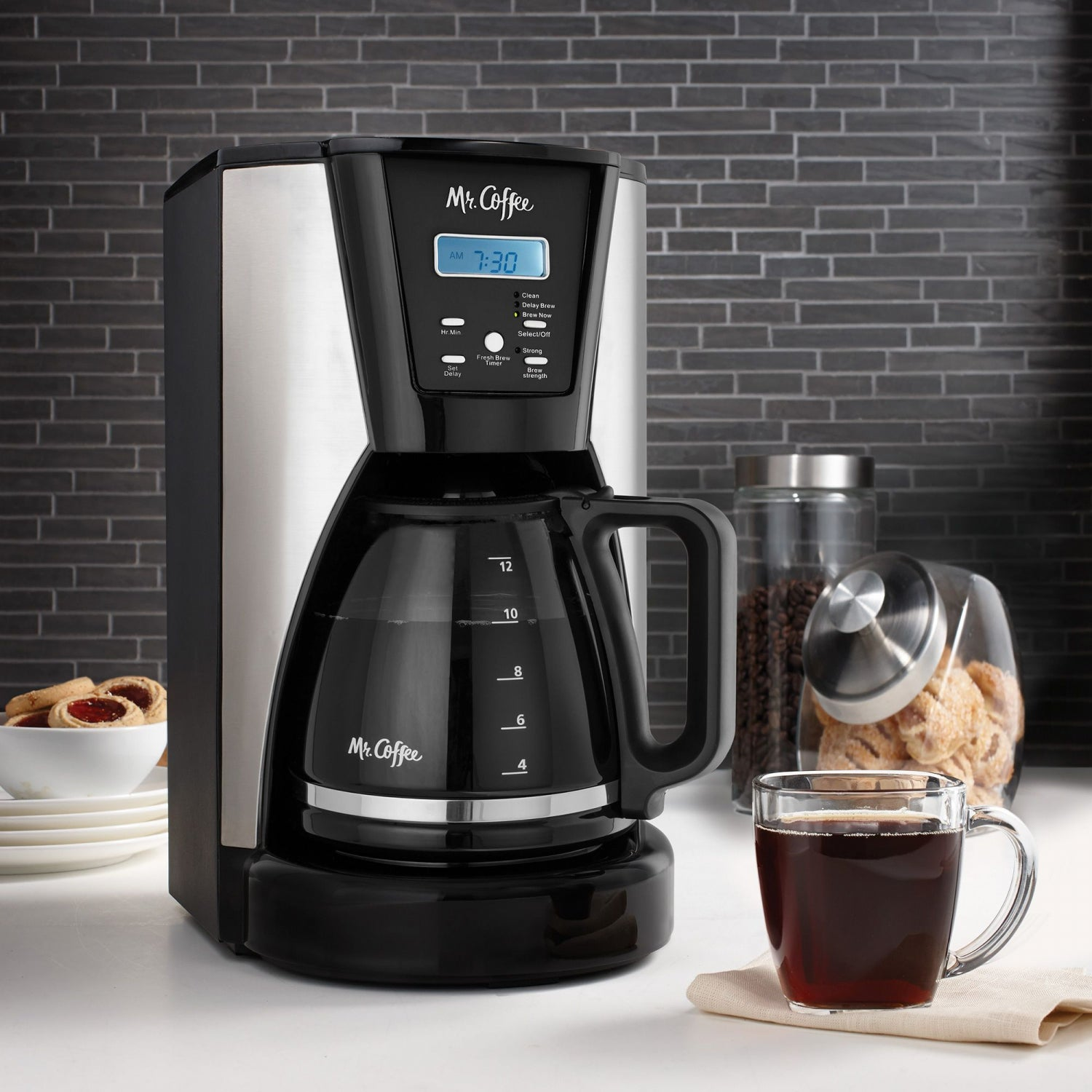 Mr. Coffee 12-Cup Programmable Coffee Maker in Chrome/Black | MrOrganic Store